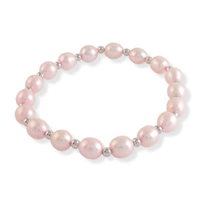 Pink Freshwater Pearl Stretch Bracelet - With Silver Beads