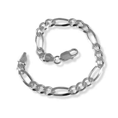 Silver Figaro Bracelet 6.90mm Width - Classic three round and one oval link figaro design