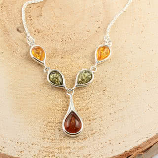 Multicoloured Baltic Amber Sterling Silver Necklace