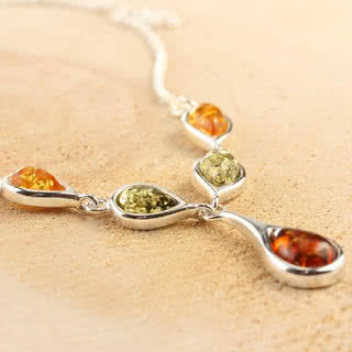 Sterling Silver Baltic Amber Drop Necklace