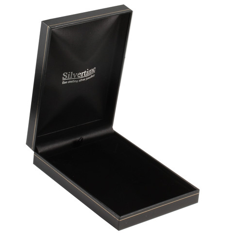 Black leatherette hinged necklace box